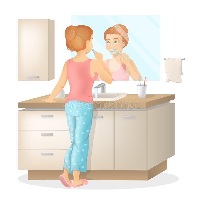 A mulher escova os dentes ilustração do vetor