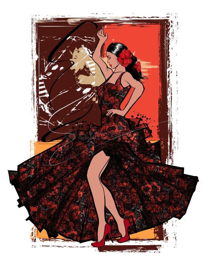Mulher espanhola do dançarino do flamenco ilustração royalty free