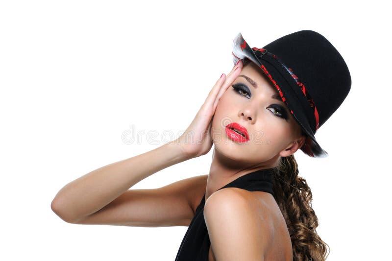 Mulher espectacular com composição brilhante foto de stock