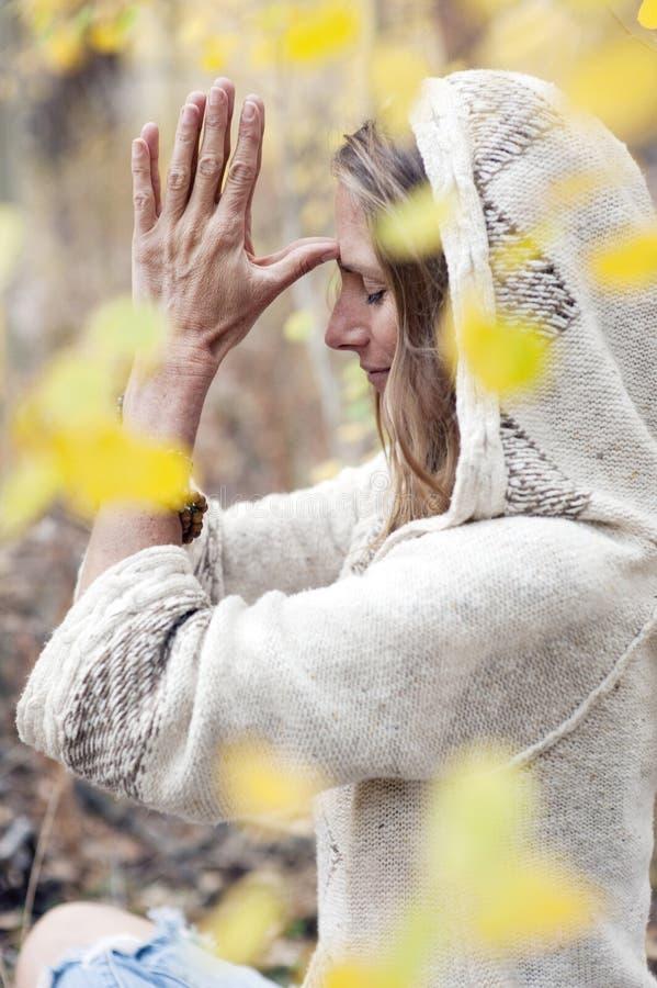 Mulher da ioga do outono imagens de stock royalty free