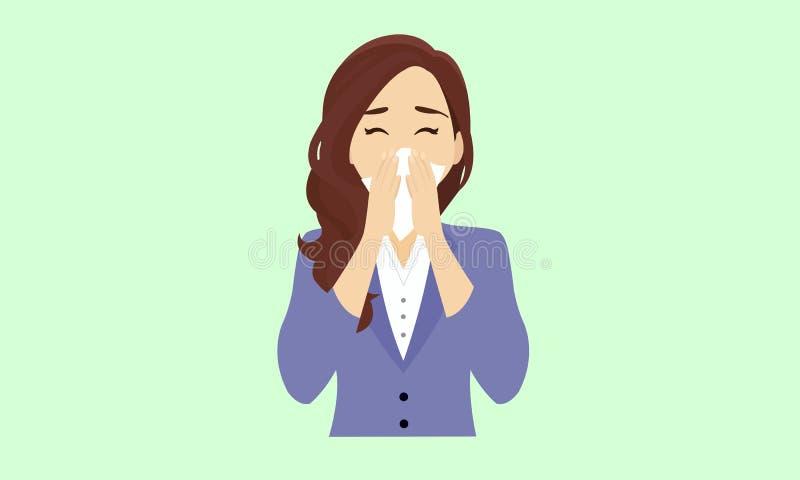 Mulher espirra lenço fotografia de stock royalty free