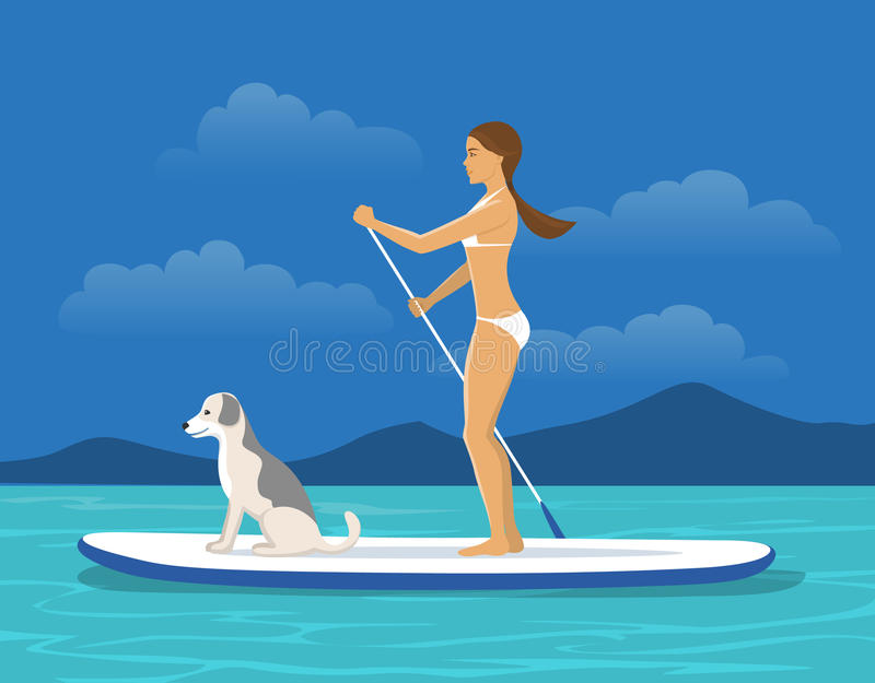 A mulher está acima de remo na placa da seiva com seu cão em um mar ilustração stock