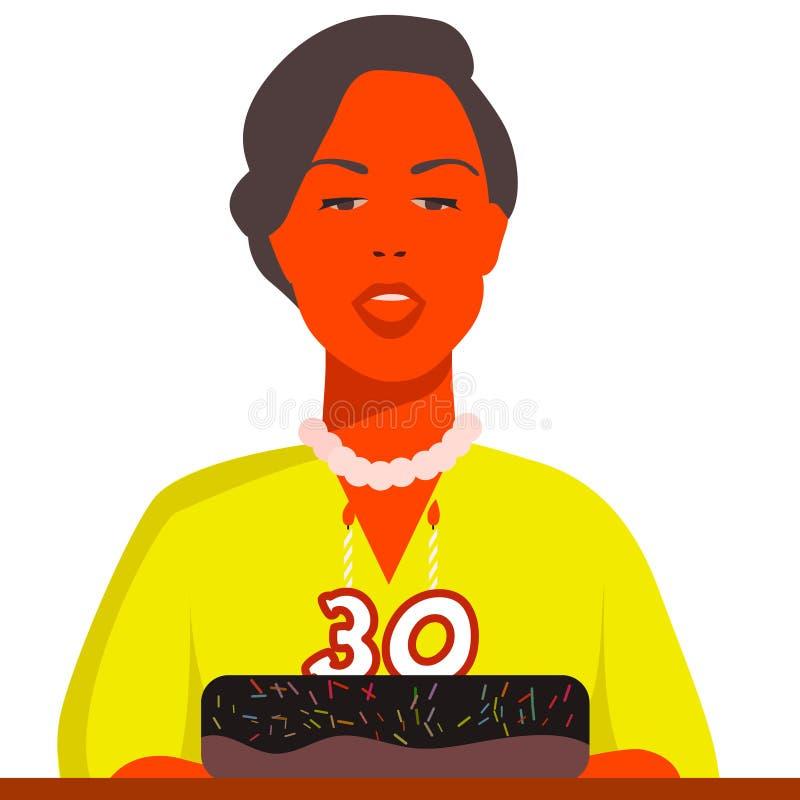 A mulher está comemorando seu 30o brithday ilustração royalty free