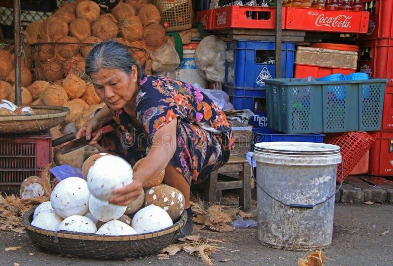 A mulher está descascando cocos no mercado de rua na matiz, Vietname foto de stock