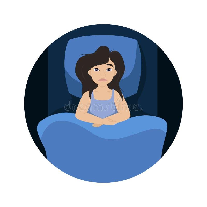 A mulher est? encontrando-se na cama insomnia Menina Tired Ilustra??o isolada do vetor ilustração stock