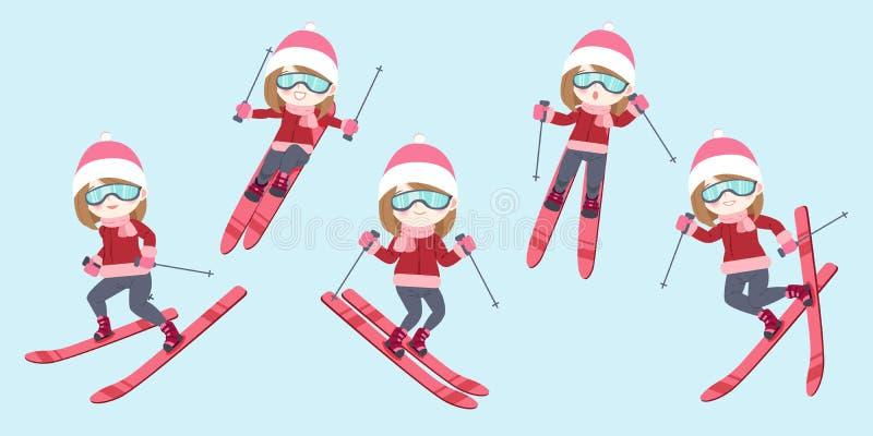 A mulher está esquiando ilustração do vetor