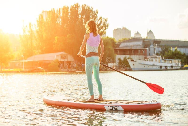 A mulher está flutuando em uma placa do SUP na manhã ensolarada Levante-se o embarque da pá - recreação ativa impressionante dura imagens de stock