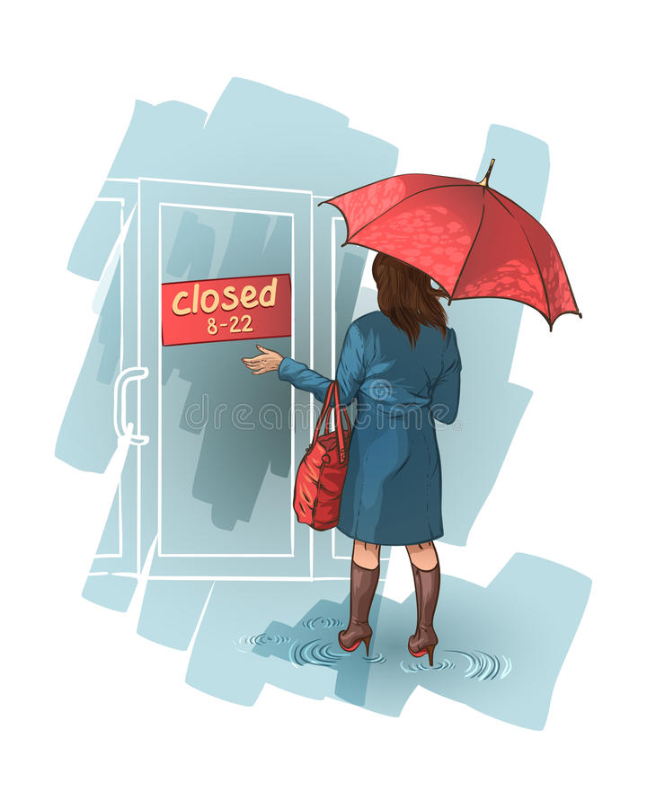 A mulher está perto de uma loja fechado. ilustração royalty free
