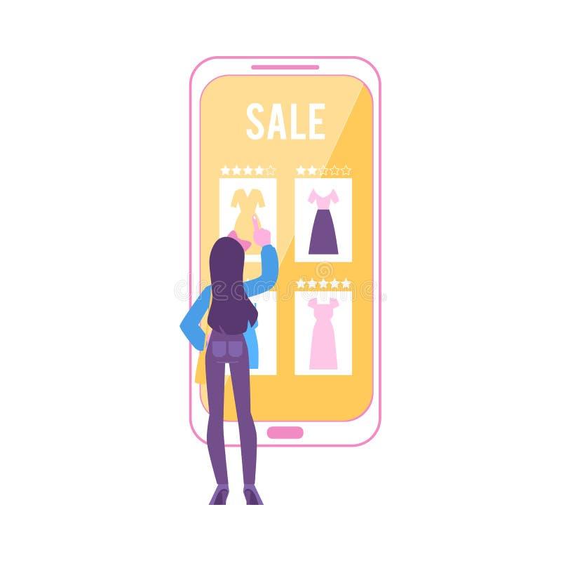 A mulher está perto do smartphone enorme que aponta para vestir o estilo liso dos desenhos animados do ícone ilustração stock