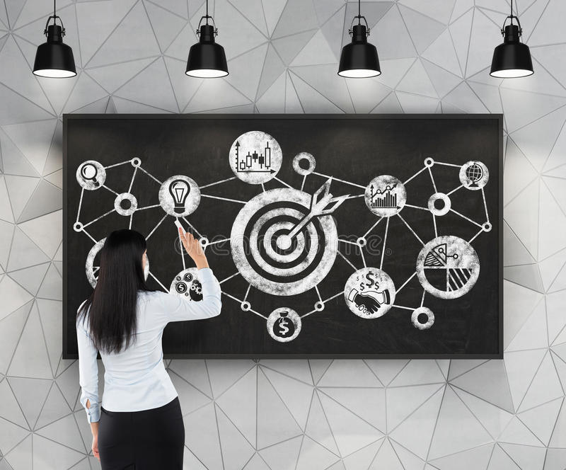 A mulher está tirando um fluxograma de alvos do negócio no quadro preto Espaço contemporâneo com o pe industrial preto fotografia de stock royalty free