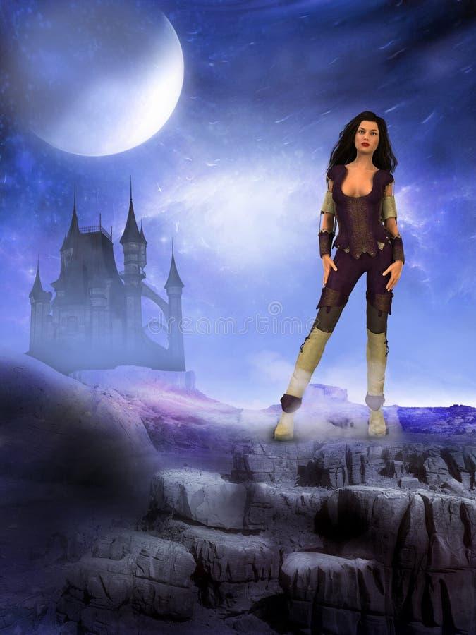Mulher estrangeira do mundo do castelo escuro ilustração do vetor