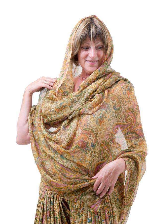 Mulher européia com roupa indiana do estilo fotografia de stock royalty free