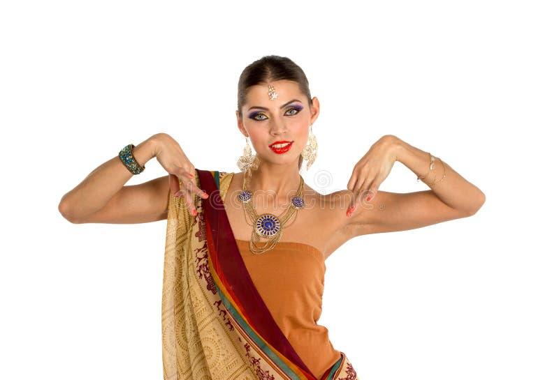 Mulher europeia que levanta no estilo indiano fotos de stock royalty free
