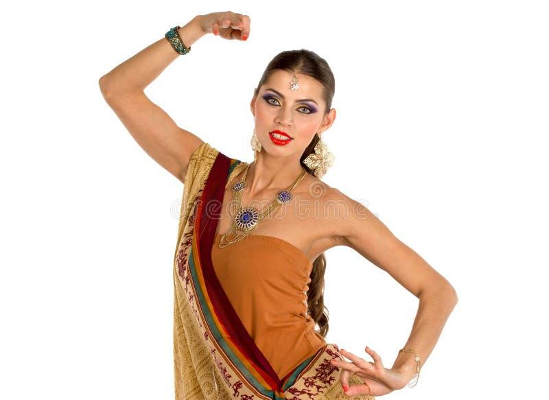 Mulher europeia que levanta no estilo indiano fotografia de stock