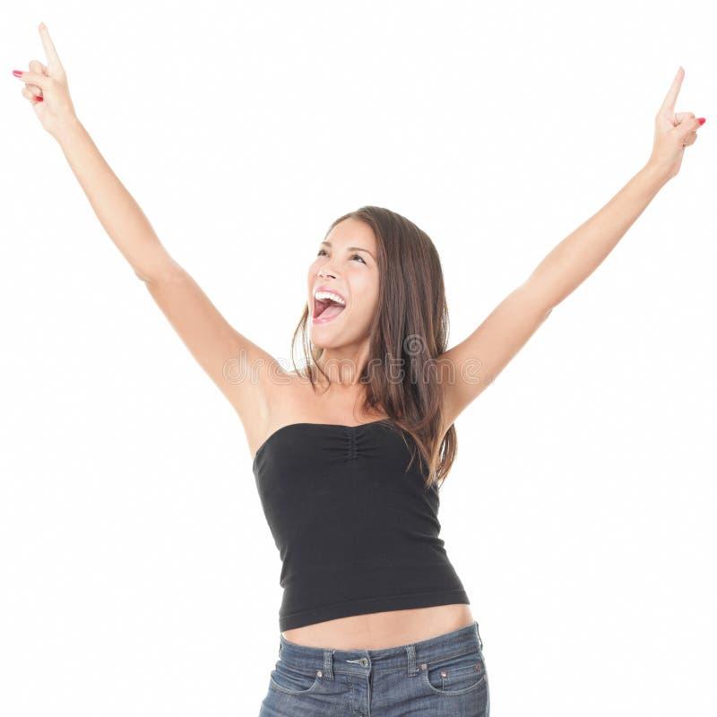 Mulher exaltada alegre no fundo branco fotografia de stock royalty free