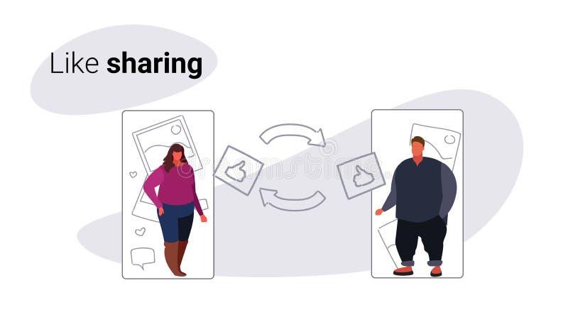 Mulher excesso de peso do homem dos pares que usa a rede social dos meios da candidatura online móvel como a partilha da tela do  ilustração royalty free
