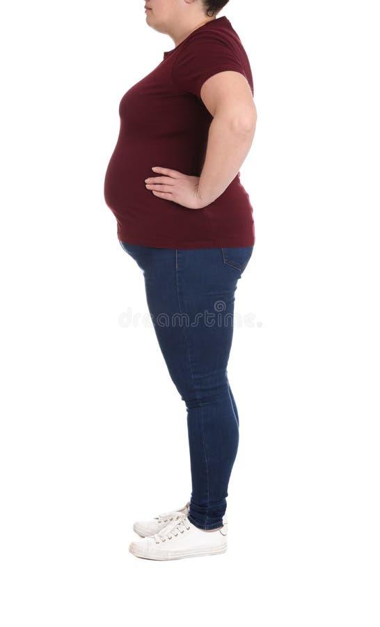 Mulher excesso de peso no fundo branco Perda de peso imagens de stock