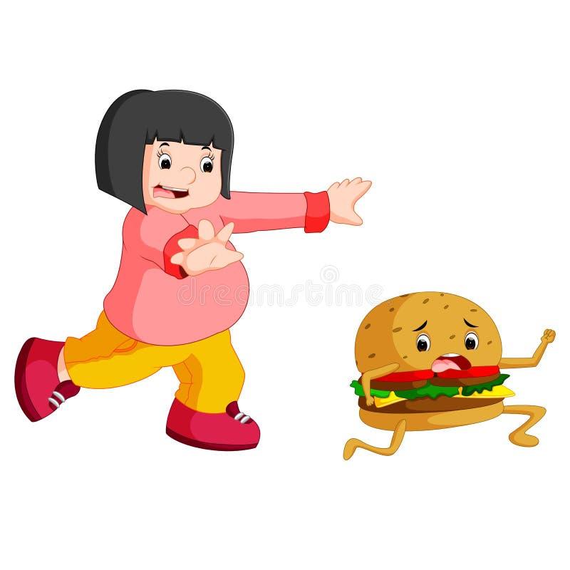 Mulher excesso de peso que persegue desenhos animados do Hamburger ilustração do vetor
