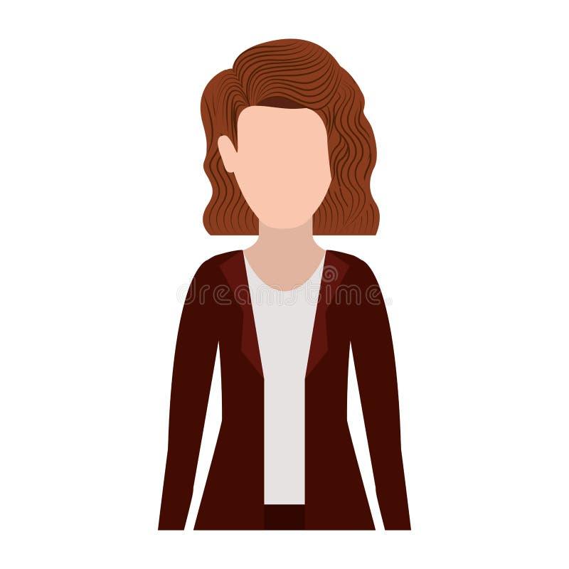 Mulher executiva da meia silhueta do corpo com cabelo curto ilustração do vetor
