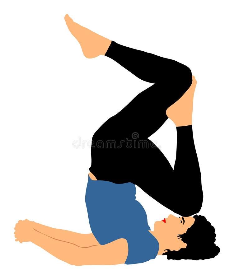 A mulher exercita a ioga, pose da ioga ilustração stock