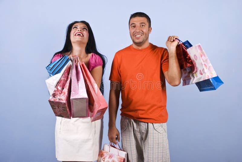 Mulher extremamente feliz na compra imagens de stock royalty free
