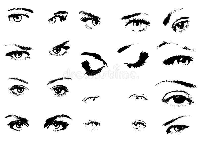 A mulher eyes a silhueta ilustração royalty free
