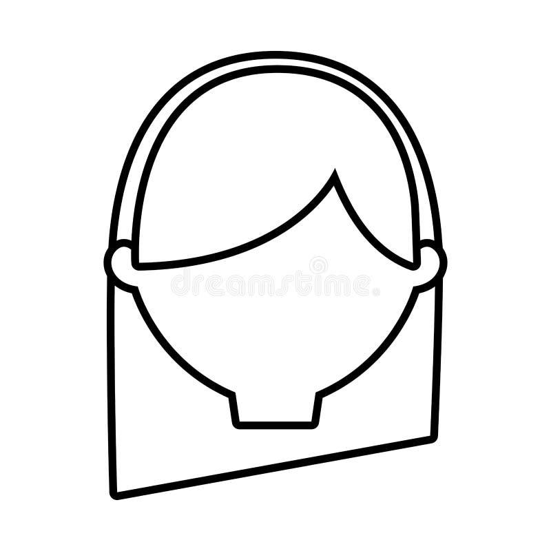 a mulher fêmea principal dilui a linha ilustração do vetor