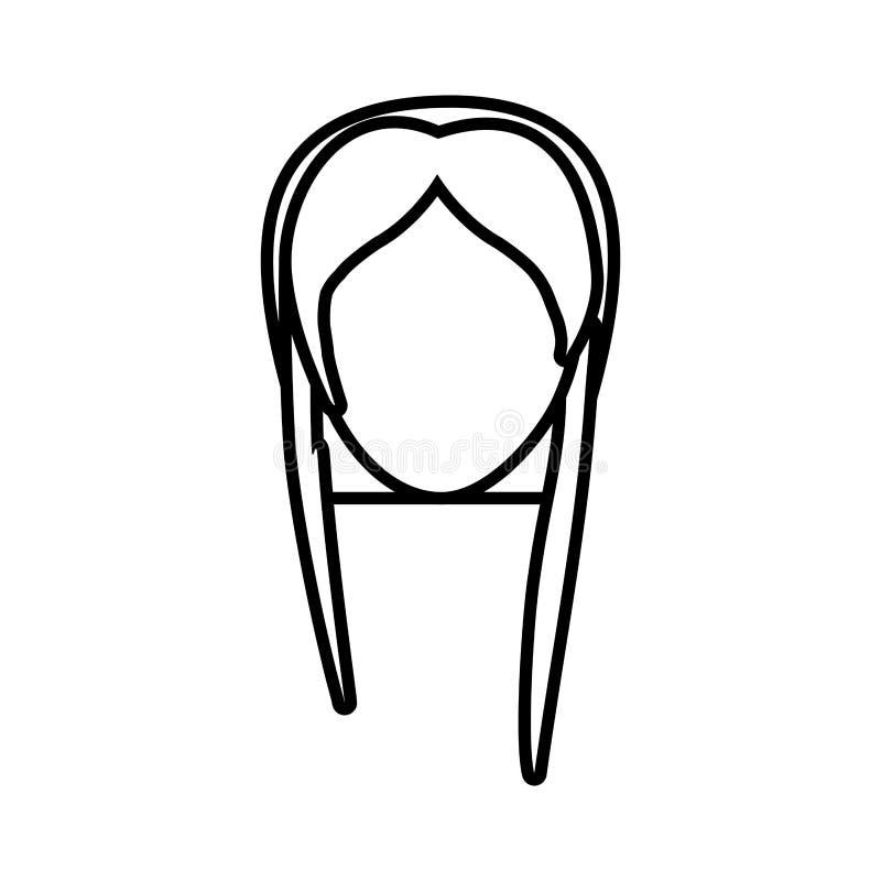 a mulher fêmea principal dilui a linha ilustração stock
