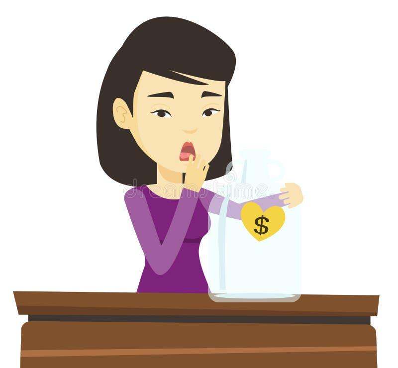 Mulher falido que olha a caixa de dinheiro vazia ilustração royalty free