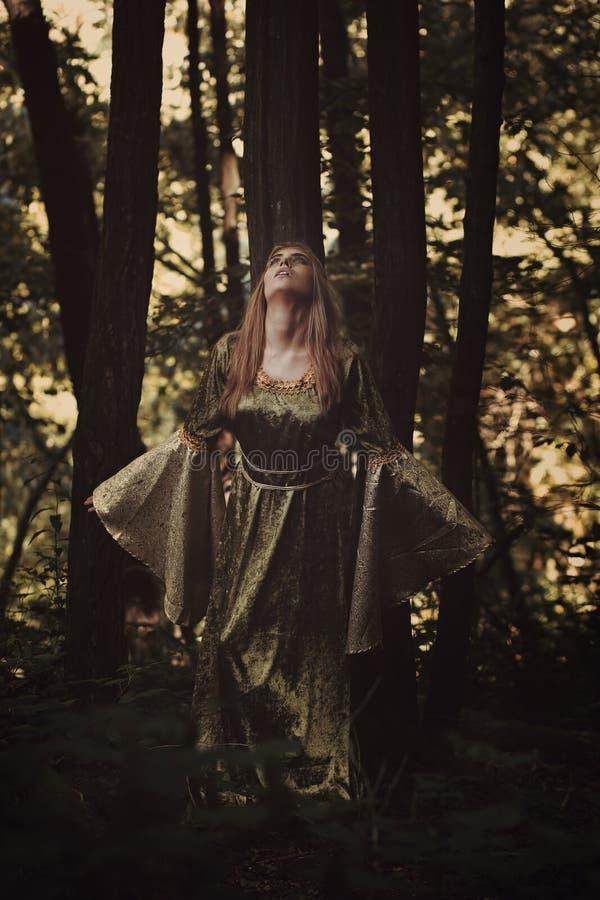 Mulher feericamente que ouve a voz da floresta fotografia de stock royalty free