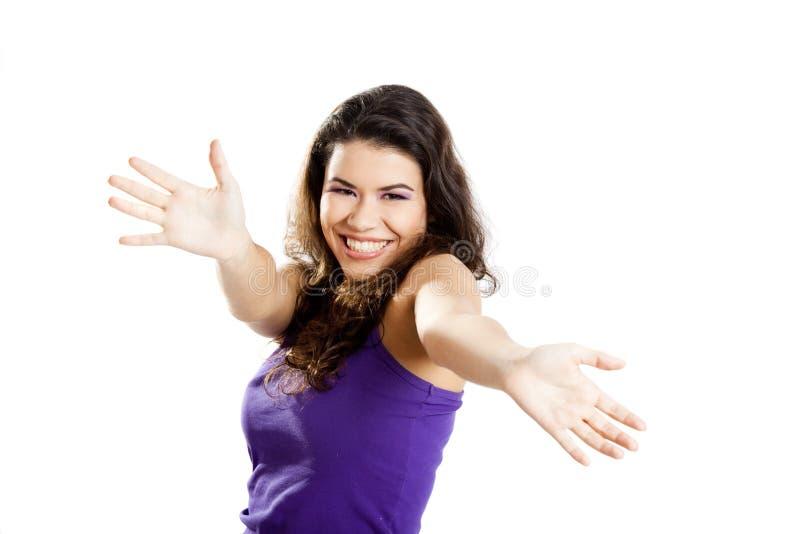 Download Mulher feliz foto de stock. Imagem de adulto, elegance - 12805712