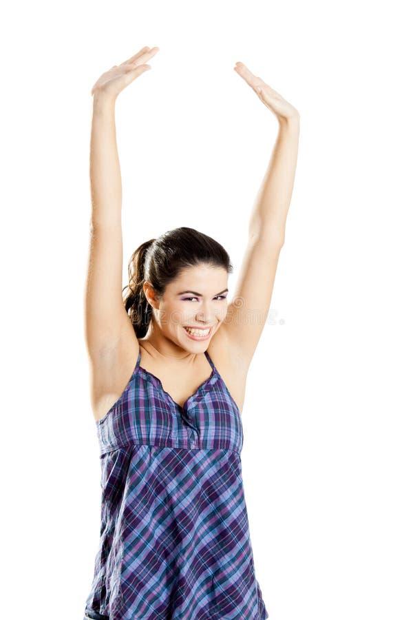 Download Mulher feliz foto de stock. Imagem de isolado, feliz - 12805720