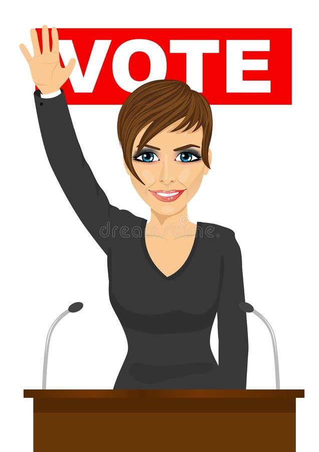 A mulher feliz acenou sua mão que está atrás da tribuna ilustração do vetor
