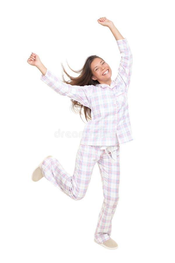 Mulher feliz alegre dos pijamas da dança foto de stock royalty free
