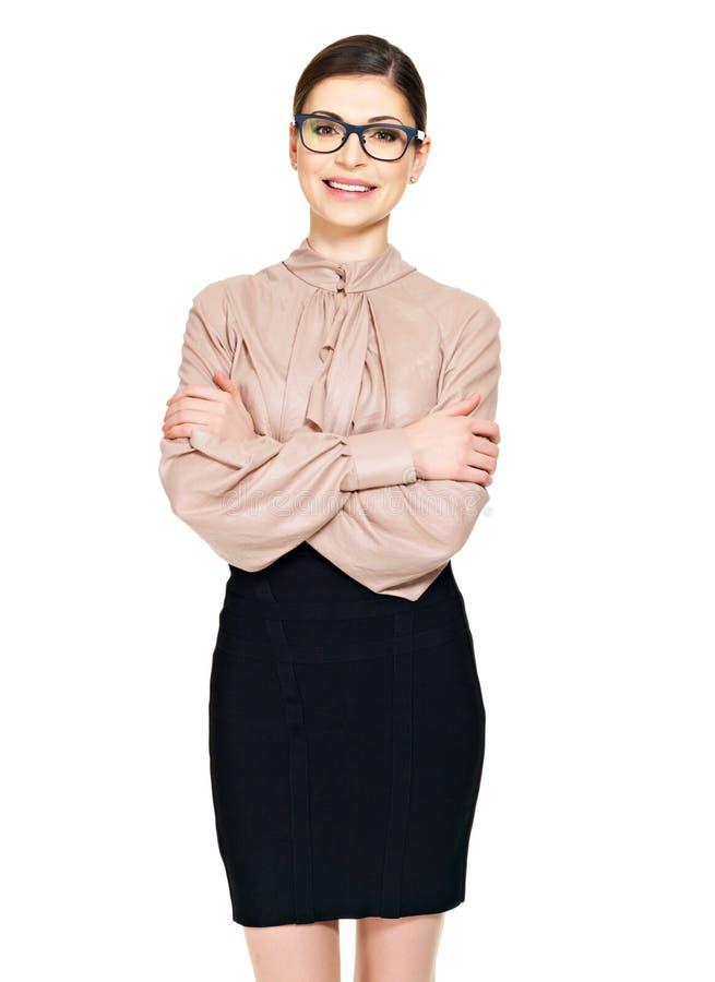 Mulher feliz bonita nos vidros e na camisa com saia preta foto de stock