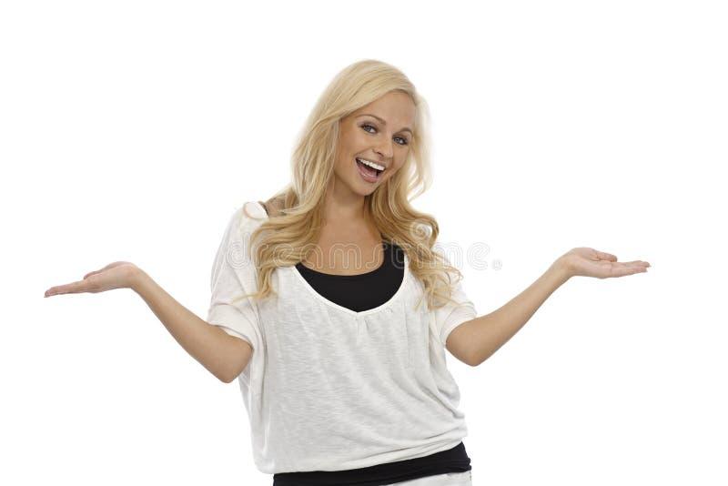 Mulher feliz com braços abertos imagem de stock royalty free