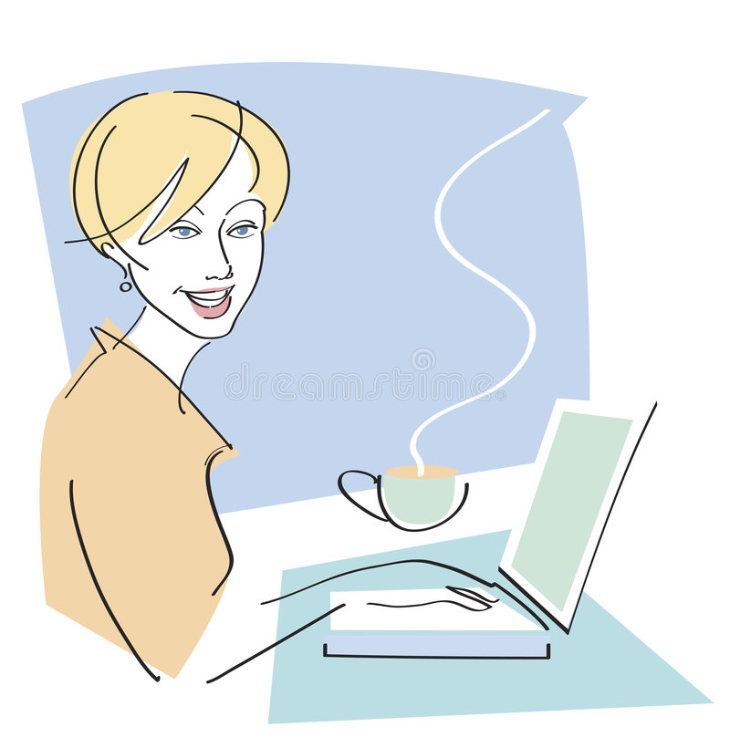 Mulher feliz com café no portátil ilustração do vetor