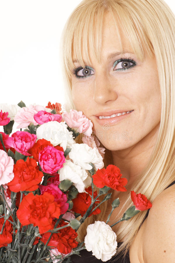 Mulher feliz com flores fotos de stock
