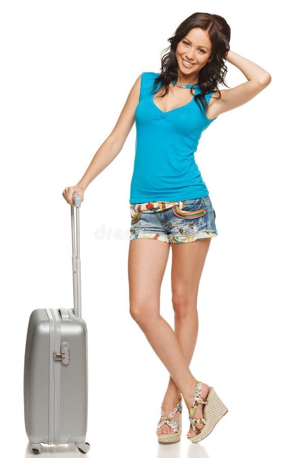 Mulher feliz com mala de viagem foto de stock royalty free