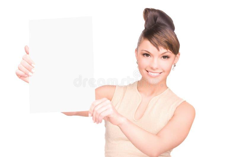 Download Mulher Feliz Com Placa Em Branco Foto de Stock - Imagem de bonito, holding: 12806470
