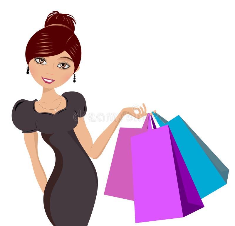 Mulher feliz com sacos de compra ilustração stock