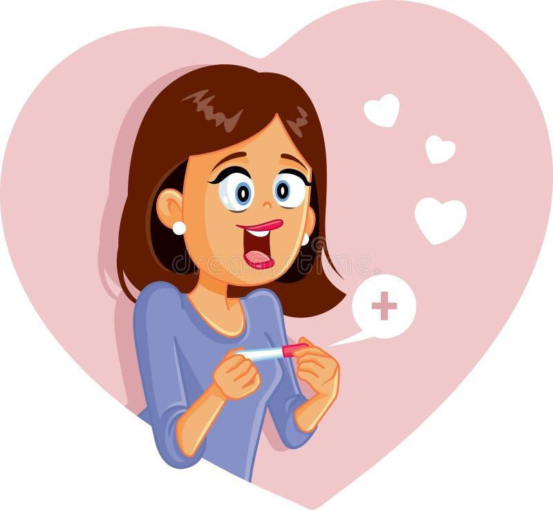 Mulher feliz com teste de gravidez positivo ilustração royalty free