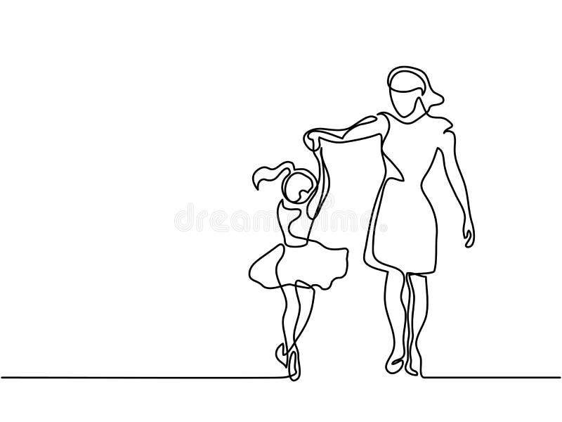 Mulher feliz da dança - a lápis desenho contínuo ilustração stock