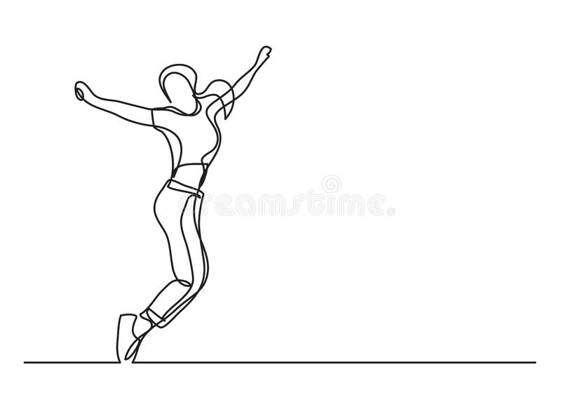 Mulher feliz da dança - a lápis desenho contínuo ilustração royalty free