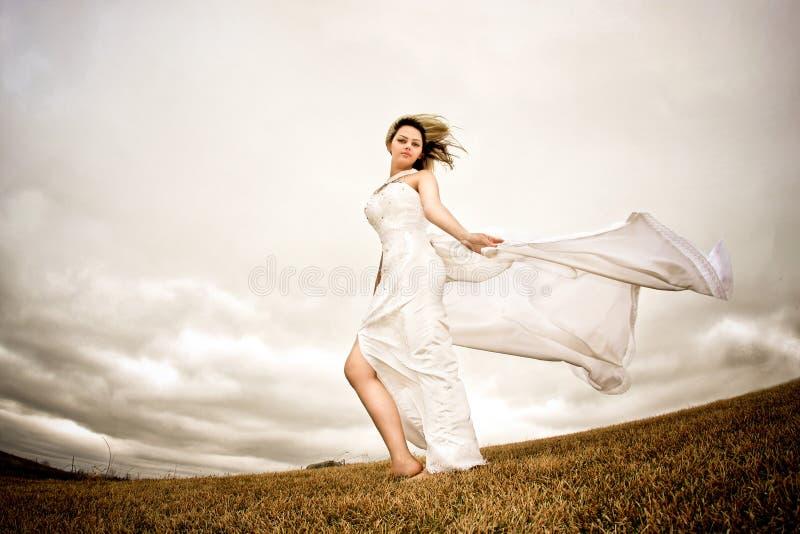 Mulher feliz da mosca fotografia de stock