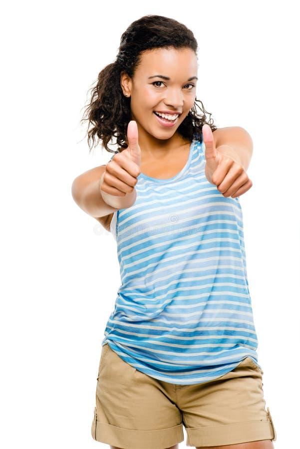 A mulher feliz da raça misturada manuseia isolado acima no fundo branco imagens de stock royalty free