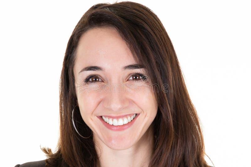 Mulher feliz de sorriso amigável do retrato da cara no close up fotografia de stock royalty free