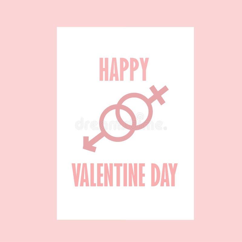 Mulher feliz do homem do rosa de Valentine Day With Color dos adolescentes ilustração stock