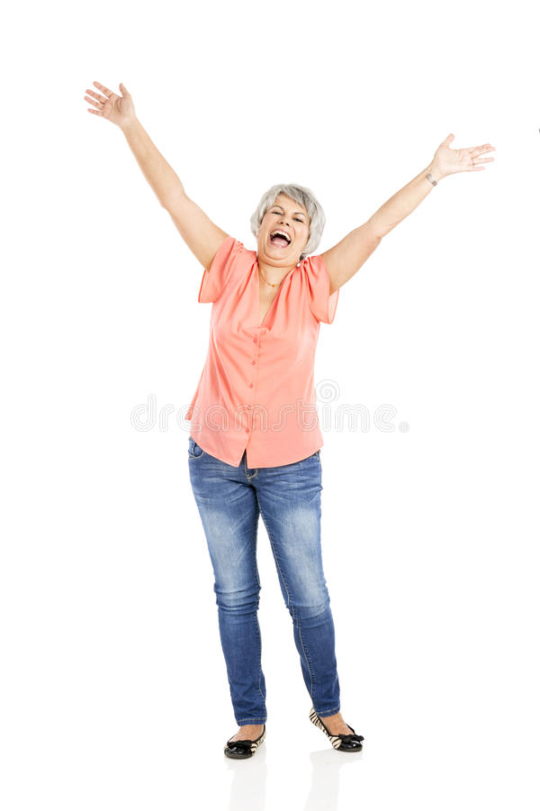 Mulher feliz do lld imagens de stock