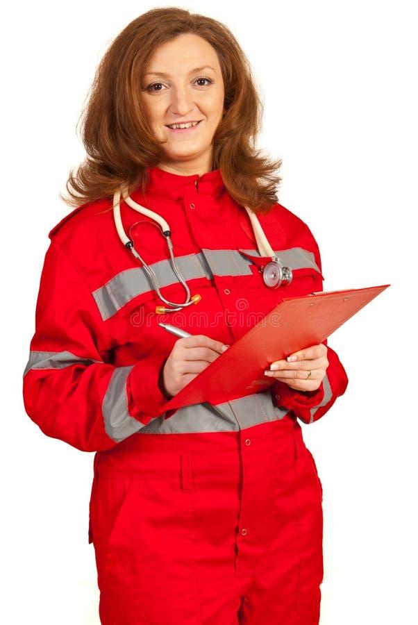 Mulher feliz do paramédico imagens de stock